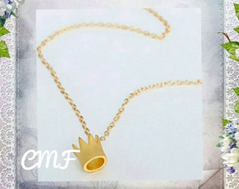 Crown Necklace Gold Plated Necklace Crown Pendant
