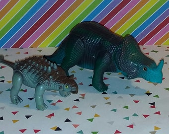 Vintage 1987 Tyco Toy Dino Riders Ankylosaurus and Monoclonius