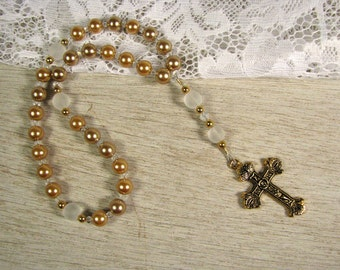 Anglican Prayer Beads-Rosary-Gold-White