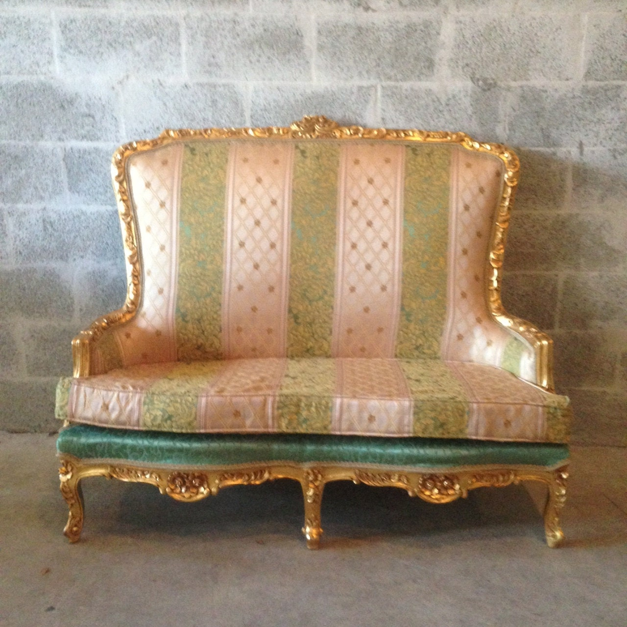 Antique French Louis Xvi Marquise Sofa Settee Refinished Gold