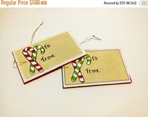 Christmas in July Sale Hand Painted Wooden Gift Tag - To and From - Candy Cane Gift Tag