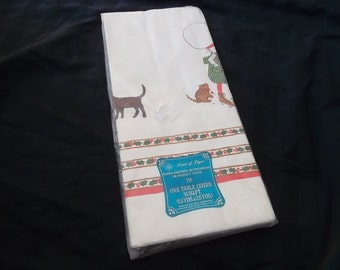 Vintage Christmas Holly Hobbie, Paper Tablecloth, American Greetings, 1973, 1.5 yards X 2.6 Yards