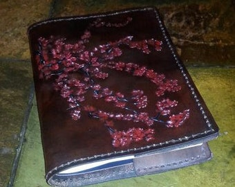 Leather Book Cover Cherry Blossoms Design