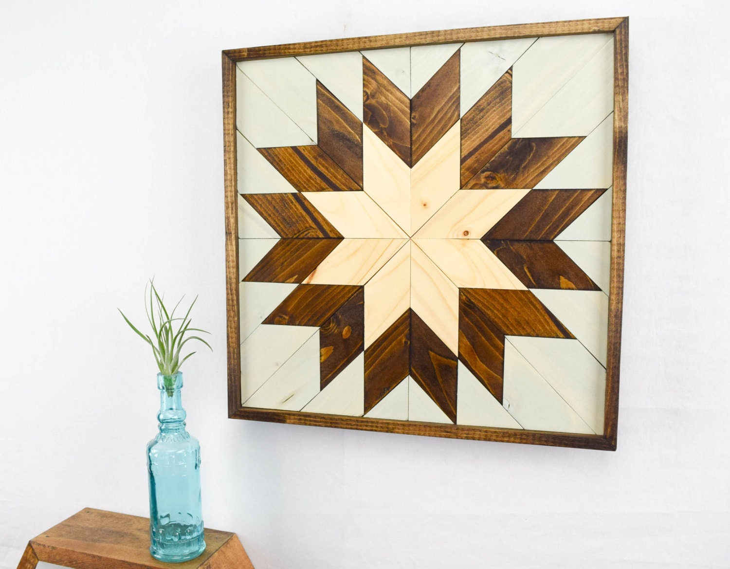 Wall Decor Etsy : Wood wall art small star quilt block by