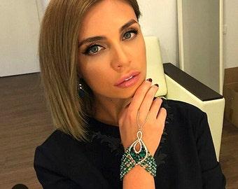 Crystal Bracelet, Emerald Bracelet, Statement Bracelet Slave