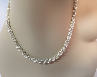 Vintage sterling silver graduated braided rooe necklace