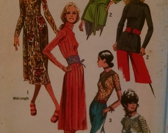 simplicity 9333 vintage women's sewing pattern dress and tops