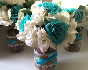Wedding, DIY, centerpiece,Silk flowers, rose, floral bouquet, wedding centerpiece, sweetheart table, turquoise