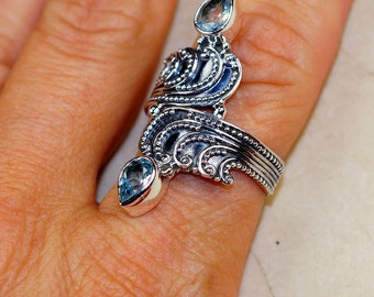 Elegant Blue Topaz & 925 Sterling Silver Ring sizes 7, 9.5 by Silver Trend