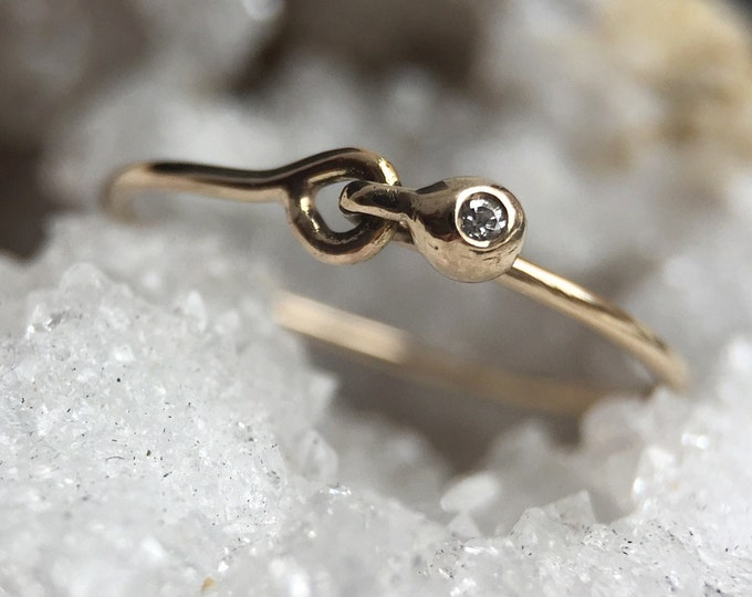 Solid 14 karat Gold Hooked Diamond Stackable or Solitaire Ring
