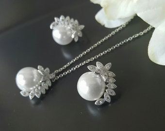 Pearl Jewelry Sets, Wedding Necklace and Earrings Set, Swarovski Pearls, Rhinestone Necklace Earring Sets, Bridesmaids Earrings