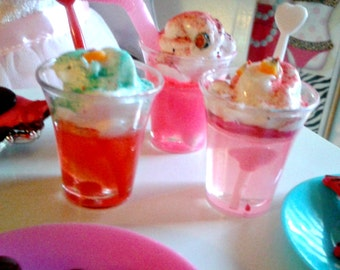 Valentine Drinks, Cotton Candy, Cherry, Peach, Fruity Italian Ice Drinks for American Girl 18 inch Dolls