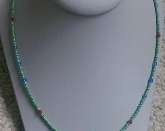 Red Bicone Crystal Beaded Necklace