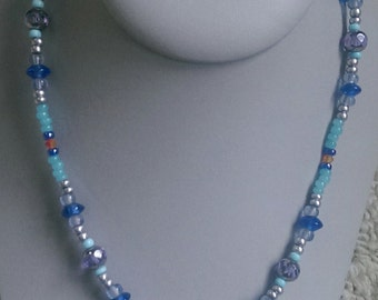 Clear Bicone Crystal Bead Necklace