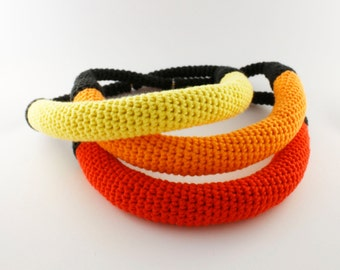 Crochet necklace, Yellow/Orange/Red, Groovy jewellery, Statement jewelry, Yarn necklace,