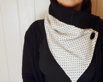 Snood women's scarves black and white neck warmer, snood, scarf, winter cowl, bandana