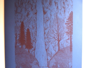 Poetry 'Her Hair', Waterfall Landscape Illustration, Blue and Red Coloured A1 Screen Print