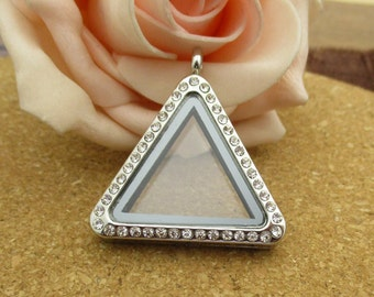 Triangle Floating Glass Locket With Diamond(Can Open)-p1432