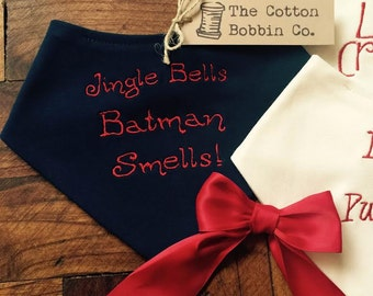 Funny Bib Embroidered Christmas 100% Supersoft Cotton Bandana Bib Jingle Bells Batman Smells Embroidery Stocking filler baby boy gift