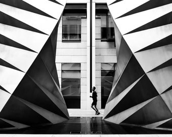 City Fine Art Photo: Jogger, Runner, Fine Art Black and White Photo from London City, Street,
