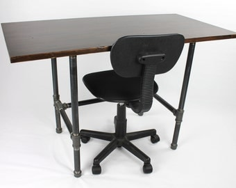 Modern Industrial Desk, Wood Furniture, Urban Work Station, Pipe Desk, Work Table
