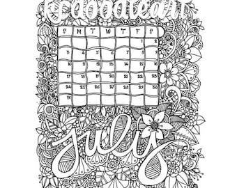 Instant Digital Download - Coloring Page - July 2016 Calendar