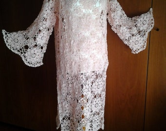 Handmade crocheted tunic dress / 100% cotton / Made to order