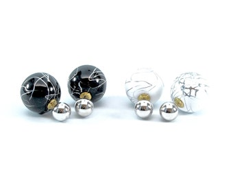 Mable Ball Double Sided Earrings -Sliver Color