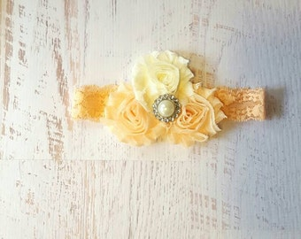 Baby headband/ peach and ivory headband