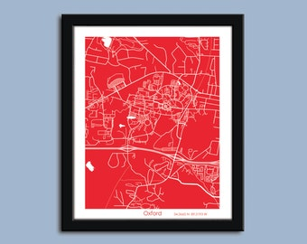 Oxford Mississippi, Oxford wall art poster, Oxford decorative map, Ole Miss
