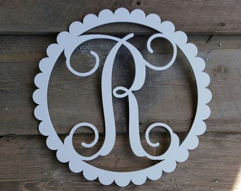 Painted Wooden Initial - Wooden Letter - Scallop Border - Wooden Monogram Wall Hanging -