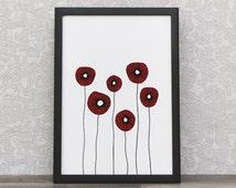 Modern Design | Poppy Print | Red Poppy Flower | Modern Wall Art | Scandinavian Art Print | Abstract Poster | Floral Decor