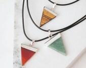 Mens Gemstone Pendant, Leather Choker, Mens Gemstone Necklace, Leather Necklace, Tigers Eye Necklace,