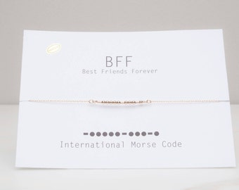 Sale Bff Morse Code Necklace, Best Friend Forever Necklace, Sister Message, Sterling Morse Code, Bff Gift, Bff Morse Code Jewelry,DaintyGift