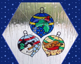 Bauble, baubles window cling Christmas decorations, for glass & mirror areas, reusable faux stained glass static cling decals, Xmas decal