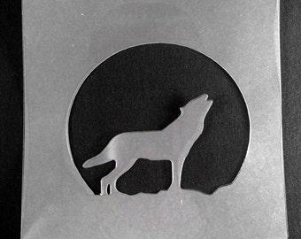 Wolf Stencil Etsy
