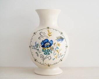 Vintage Floral Vase - Blue Mustard Ceramic Purbeck