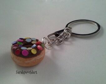 polymer clay doughnut keyring, miniature doughnut, clay doughnut, keyring, bag charm, planner charm, clay food