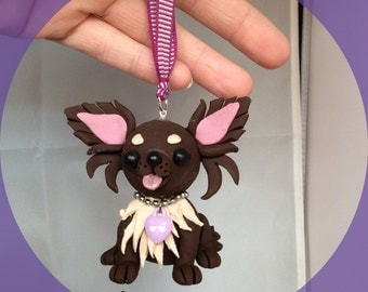 Chihuahua, long haired, hanging model, hand sculpted from polymer clay, chocolate/cream.