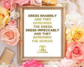 Chanel Faux Gold Print//Chanel Logo//Chanel Quote print//Chanel Art Print//fashion illustration//Coco Chanel Art Print//8 x 10