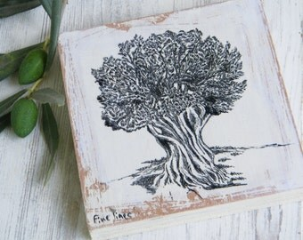 Miniature painting, Olive tree painting, Wood signs, Olive branch, Tree printable, Christmas gift
