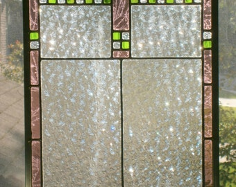 Leaded stained glass panel, clear, mauve and bright green