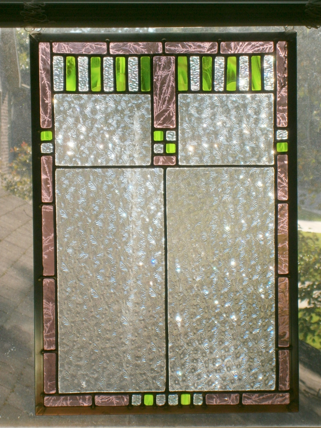 Clear Leaded Glass : Leaded stained glass panel clear mauve and bright green x
