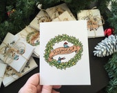 Christmas Cards- Send a Story line- Hand Drawn, Hand-lettered Multipack of 4