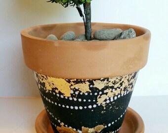 Geometric Black & Gold Terra Cotta Planter