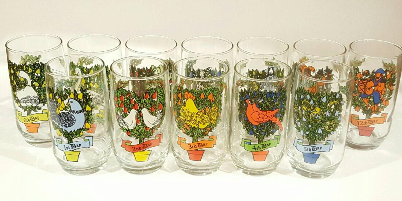 Days of christmas drinking glass set