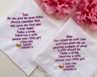Set Of 2 Wedding Handkerchief For Father Of Bride& Mother Of Bride/Free Set Of 2 Wedding Handkerchief Gift Box