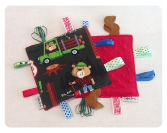 Lumberjack tag toy, sensory tag toy, baby crinkle paper, bear baby toy, camping tag toy