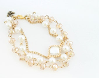 Beaded Pearl and Crystal Bracelet