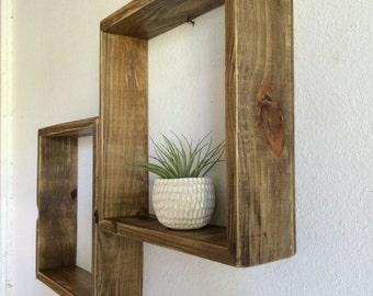 set of two shelves reclaimed wood 14 x 14 large box shelf